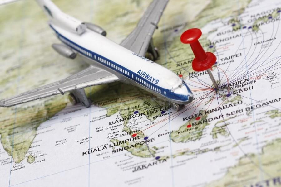 マニラに向かう飛行機