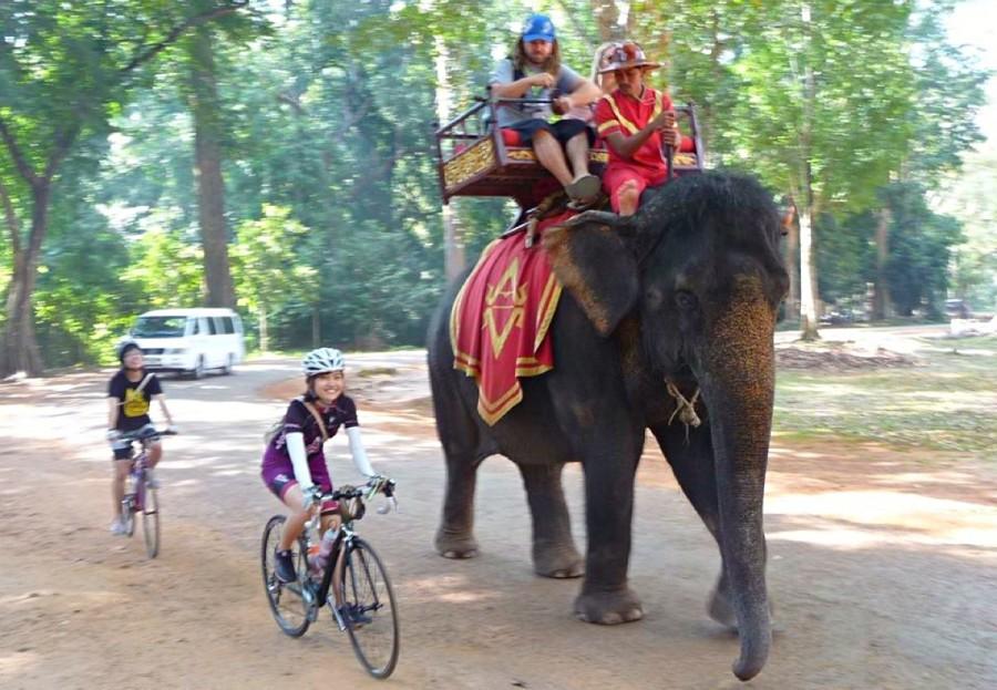 カンボジアのアンコール遺跡群を自転車で探検しに行った時の1枚