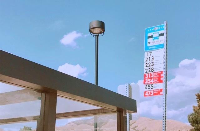 ソルトレイクシティのバス停の様子