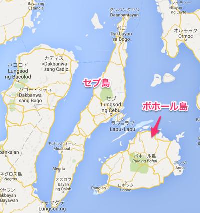 ボホール島とセブ島の知図
