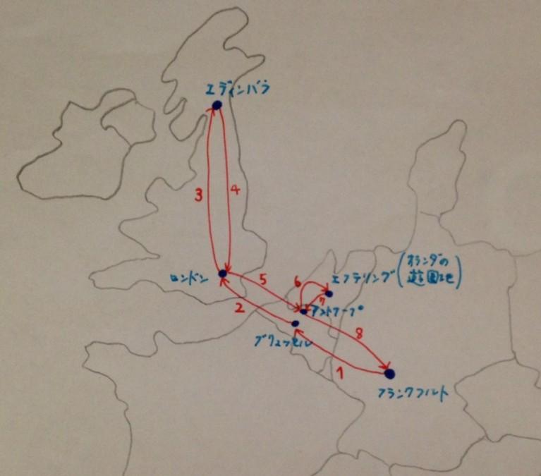 ヨーロッパのバス旅 移動ルート