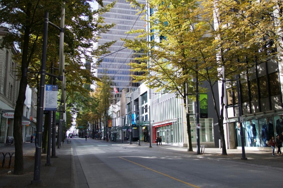 学校前の通り