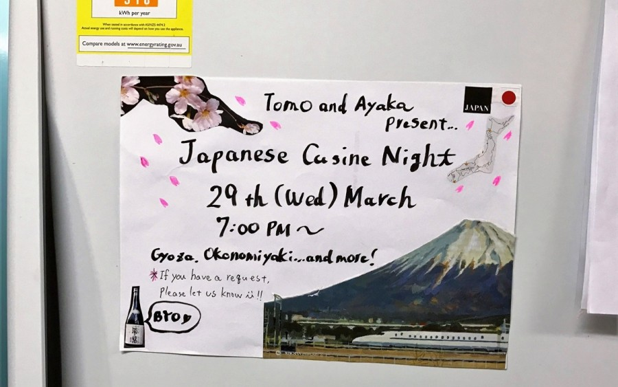 共有キッチンの冷蔵庫に貼った日本食パーティーの案内