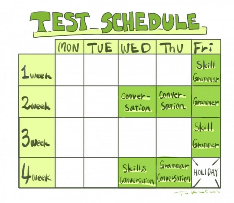テストのスケジュール