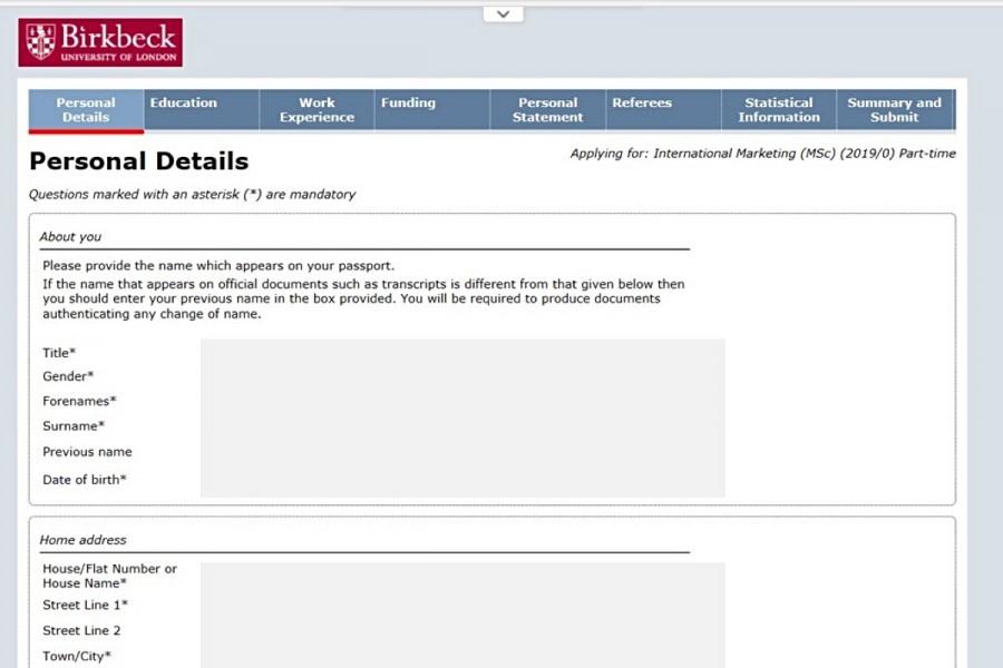 ロンドン大学出願システムの画面